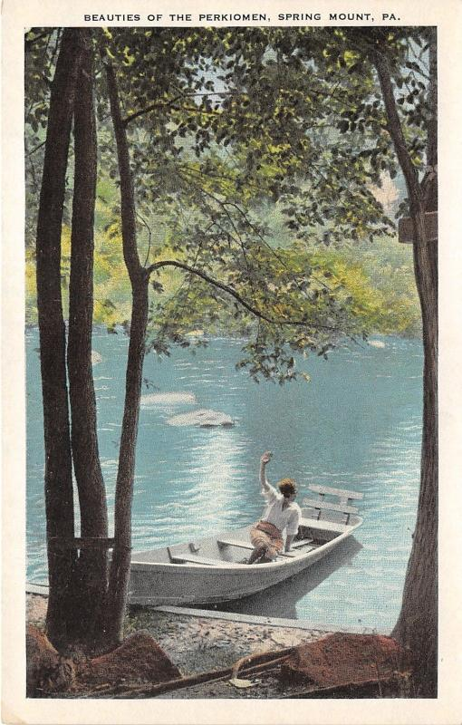 Spring Mount Pennsylvania~Beauties of the Perkiomen~Lady in Boat~1920s PC