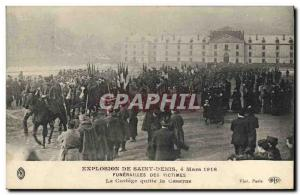 Old Postcard Explosion of Saint Denis March 4th 1916 Funerals of victims The ...