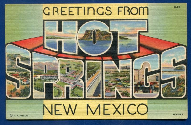 Hot Springs New Mexico nm large letters letter linen postcard #1