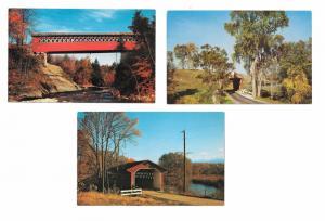 3 Vermont Covered Bridges Pittsford Chiselville Bennington Vintage Postcards