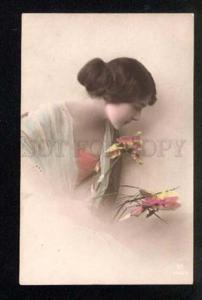 047292 Tinted Lady w/ Flowers vintage PHOTO