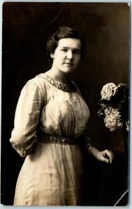 1910s Canton Ohio RPPC Studio Photo Postcard Young Woman Empire Gallery Unused