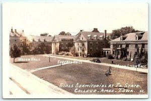 VTG Postcard RPPC Real Photo Iowa State College Girls Dorms Ames IA Hall Car A5