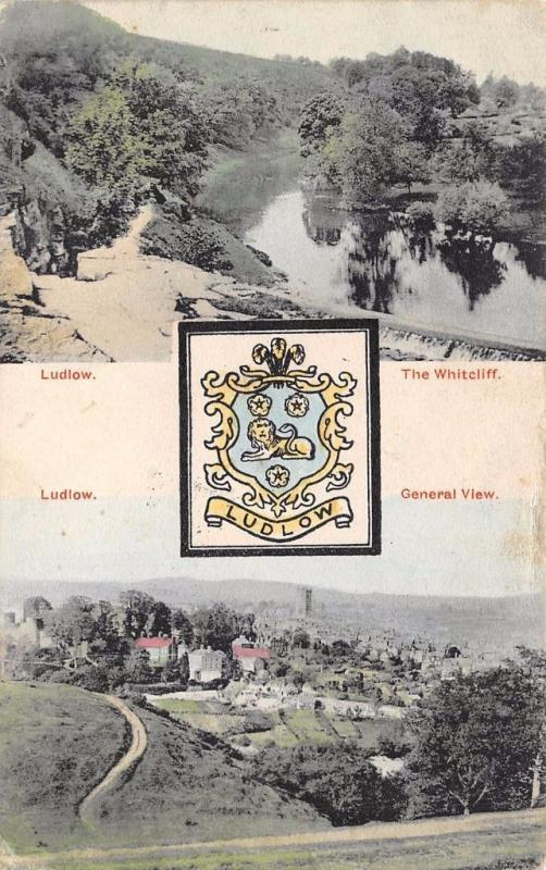 Vintage 1906 Postcard LUDLOW Whitcliff General View & Coat of Arms