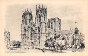 York Minster West Front, Joseph Pike 1909 Sketch Drawing