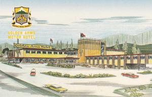 Illustration of Golden Arms Motor Hotel, Eastern Gateway to Rogers Pass, Gold...
