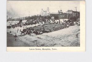 PPC POSTCARD TENNESSEE MEMPHIS LEVEE SCENE UNDIVIDED BACK BLACK AND WHITE IMAGE