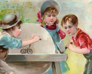 1893 Midsummer Lion Coffee Woolson Spice Co. Children Sharpening Axe #2 *D