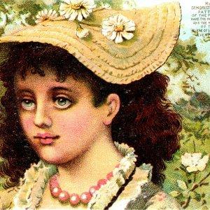 c1880s Demorest Elite Fashion Emporium Trade Card Reliable Patterns Cute Girl C5