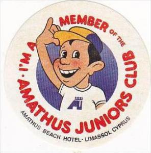 CYPRUS LIMASSOL AMATHUS BEACH HOTEL JUNIOR CLUB VINTAGE LUGGAGE LABEL