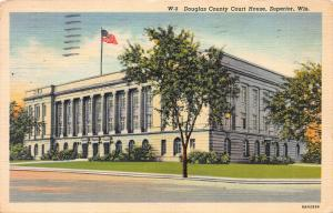 Douglas County Court House, Superior, Wisconsin,  Early Postcard, Used in 1941