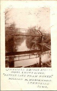 Vtg Cartolina Circa 1908 Lynnville Ponte Attraverso North Puzzola Fiume - Iowa