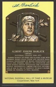 Al Barlick Autograph on HOF Plaque