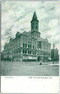 Birmingham, Alabama Postcard City Hall Building / Street View w/ 1908 Cancel