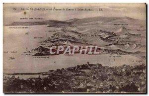 Postcard Old blue bird flight to Cote d Cannes St Raphael