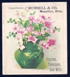 VICTORIAN TRADE CARD Russell & Co Engines Threshers Saw Mill
