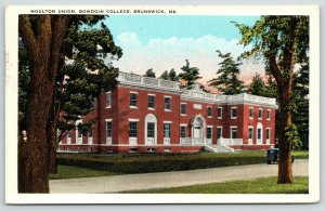 Brunswick Maine~Bowdoin College~Moulton Student Union Building~1920s Postcard