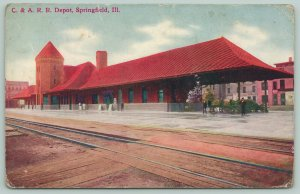 Springfield Illinois~C&A RR~Railroad Depot~Passengers Await Train~Bicycles~1914