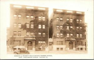 Chicago Illinois~Methodist Training School~Kinnear Monnett Halls~1920s Car~RPPC