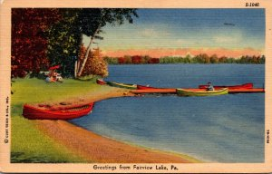 Pennsylvania Greetings From Fairview Lake 1957 Curteich