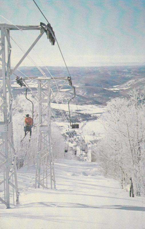 Mile-long souh-side chair lift, MONT TIEMBLANT, Province of Quebec, Canada, 1965