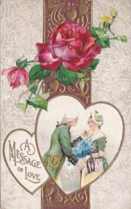 Valentine's Day With Red Rose & Victorian Couple