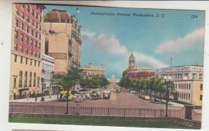 P2143, vintage postcard pennsylvania ave street traffic etc view washington D.C.