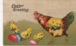 EASTER; PU-1911; Chicks, Hen And  Eggs, Easter Greetings
