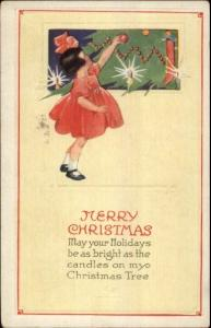 Little Girl Decorating Tree c1910 Christmas Postcard rpx