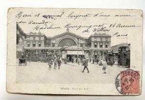 B&W Trolleys East Railway Station Paris France, Olneyville Station Flag Cancel
