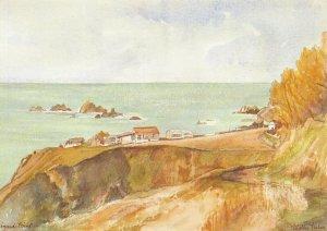 Cornwall Art Postcard, Lizard Point by Mollie Fisher EO6