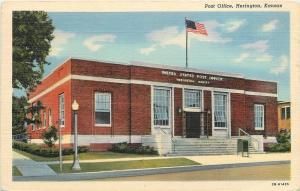 Herington Kansas~Post Office~1945 Linen Postcard