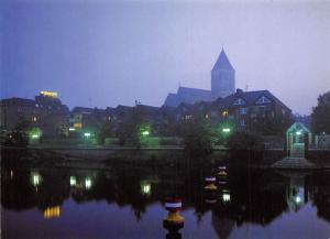 Rheine Emsanssicht bei Nacht Panorama Kirche