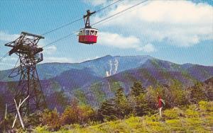 Tram Car Approaching Summit Cannon Mountain Franconia Notch New Hampshire
