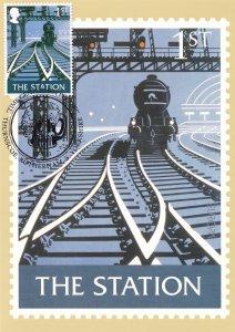 The Train Station Pub Sign Limited Edition Rotherham Yorkshire Postmark Postcard