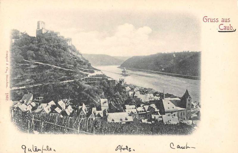 Caub Rhineland-Palatinate Germany Gruss aus scenic view antique pc Z17886
