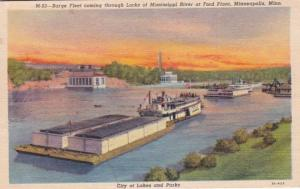 Minnesota Minneapolis Barge Fleet Coming Through Locks Of Mississippi River A...