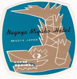 Japan Nagoya Miyako Hotel Vintage Luggage Label sk3953