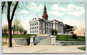 Omaha Nebraska~Old High School~Victorian Clock Tower~Lawn Retaining Wall~1910