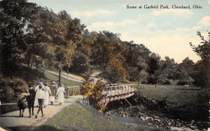 Cleveland Ohio~Victorians on Foot Path Bridge in Garfield Park~1910 Postcard