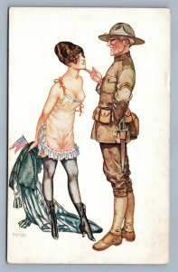 SOLDIER & GIRL w/ AMERICAN FLAG RISQUE ANTIQUE POSTCARD