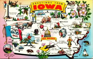 Vtg 1950s Greetings from Iowa IA State Map Towns Attractions Fun Postcard