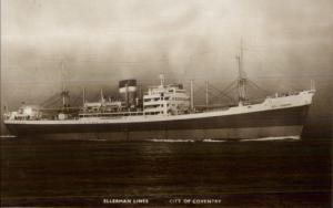 Ellerman Lines Steamship City of Coventry Real Photo Postcard