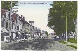 Newport ME Main Street Storefronts Wagons Vintage Postcard