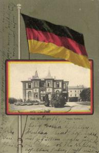 germany, BAD WILDUNGEN, Neues Kurhaus, Flag Postcard (1907) Stamp