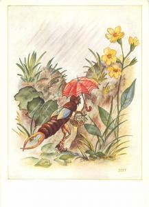 Humanized antropomorphic comic insect ant umbrella caricature artist signed BERT