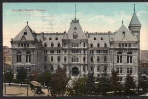Quebec ~ City Hall QUEBEC CITY with Street Car - pm1919 - Divided Back