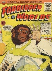 Forbidden Worlds Sci Fi 1950s Comic Evolution Man To Ape Postcard