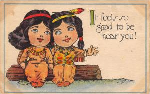 Native Americana~Indian Brave & Maiden on Log~Good to Be Near You~Artist 1915