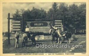 Hollebs Crawling Stone Lodge, Lac Du Flambeau, Wisconsin, WI USA Hotel Postca...
